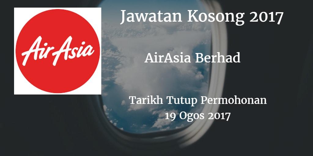 Jawatan kosong AirAsia Berhad 19 Ogos 2017