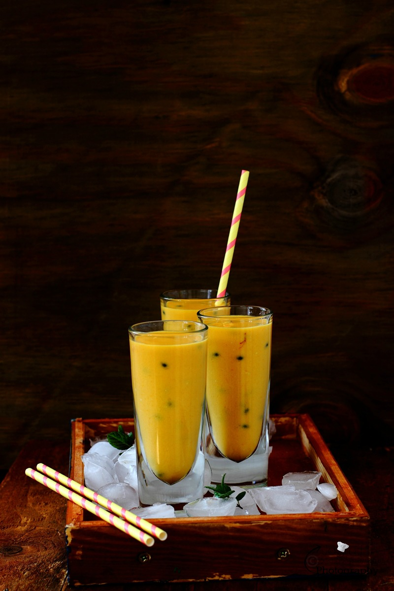 Caribbean-inspired Mango, Passion Fruit and Coconut Lassi