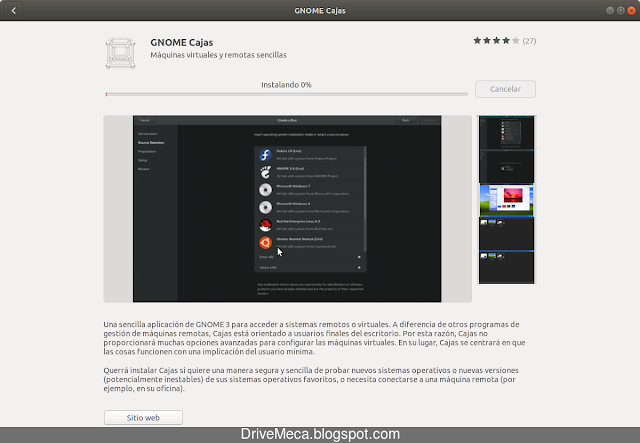 Software descarga e instala Gnome Cajas