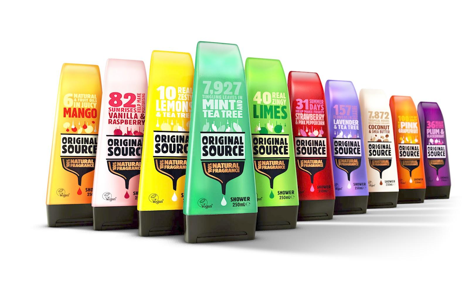Original Source Shower Range Redesigned On Packaging Of