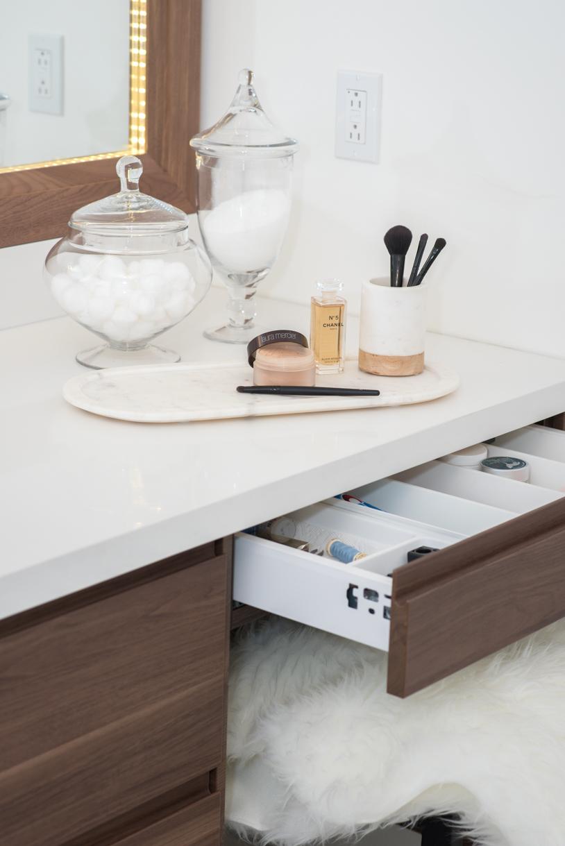 make up station in washroom vanity