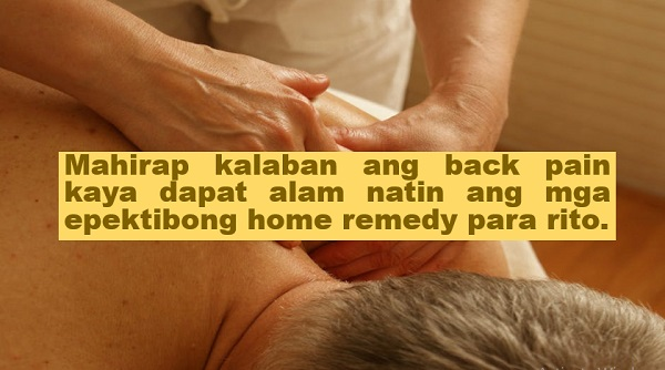 "After a long and tiring day, many of us experience back pain; which makes it difficult for us to sit, stand, and even sleep. Therefore, we should be aware of the effective home remedies for back pain.  Advertisement      ""Body pain such as arm, leg, abdomen, and back is indeed debilitating. In case of back pain, it gets difficult to sleep, sit, or stand due to the intensity of the pain. Therefore, you should opt for a quick solution,"" noted Natural Food Series.    Here are some of the effective home remedies for back pain:    1.  Turmeric and milk drink - Consuming a cup of warm milk with a teaspoon of turmeric is said to ease the intensity of the back pain.    2. Placing heating pack on the affected area helps a lot in easing back pain. According to studies, heat therapy is effective due to its analgesic properties. It soothes sore muscles on your back, relieving spasms and pain alike.      3. Taking warm showers to treat back pain is an effective home remedy. Warm water has potential to soothe and heal sore muscles in a person's back. One may apply lavender essential oil after the bath, as well, to speed up the healing process.   4. Pineapple juice is also a good drink for people suffering from back pain. One only needs to blend fresh chunks of pineapple with some water and ice cubes.       Ads   5. Drinking some warm ginger tea can help ease back pain. One must simply boil a cup of water with the freshly cut ginger piece. The person may also add honey. The tea can be consumed twice a day depending on the intensity of the pain.    6. One can treat back pain by massaging it with herbal oils regularly.     7. In many cases, sleeping posture causes back pain. If you sleep on your back and encounter pain frequently, you need to make a few changes in this context. Place a pillow under your knees to support your spine.  Ads  For more tips on how to heal back pain, watch this:    This article was filed under Health, Health news, Healthy life news, Newshealth, Healthy Living, Health blogs, Health benefits, Food, Drinks, Home remedies, and Back pain."