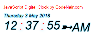 javascript digital clock with date