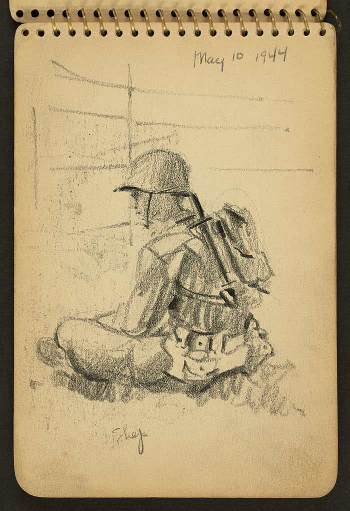 21-Year-Old WWII Soldier's Sketchbooks Show War Through The Eyes Of An Architect - Shep Sitting Cross-Legged In His Helmet And Knapsack While Stationed At Fort Jackson, South Carolina