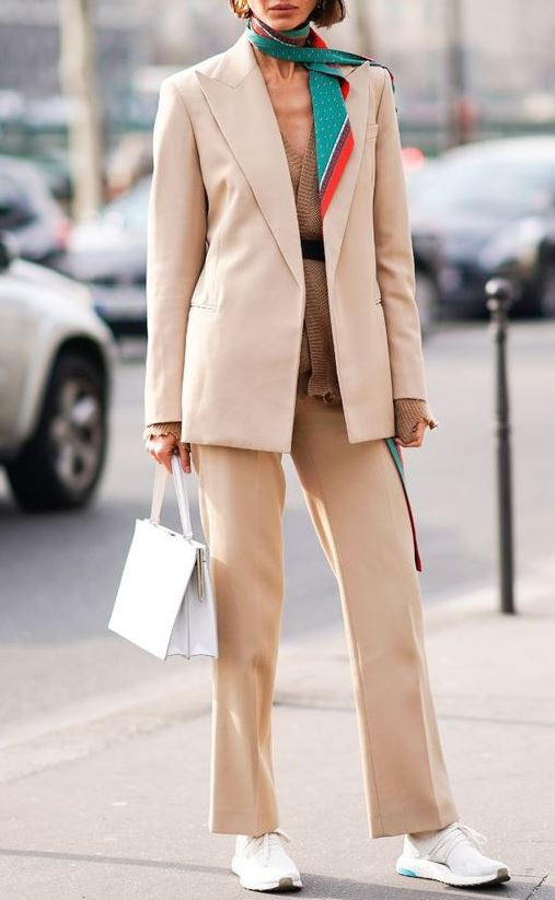 fashion trends | white bag + knit sweater + scarf + blush suit + sneakers