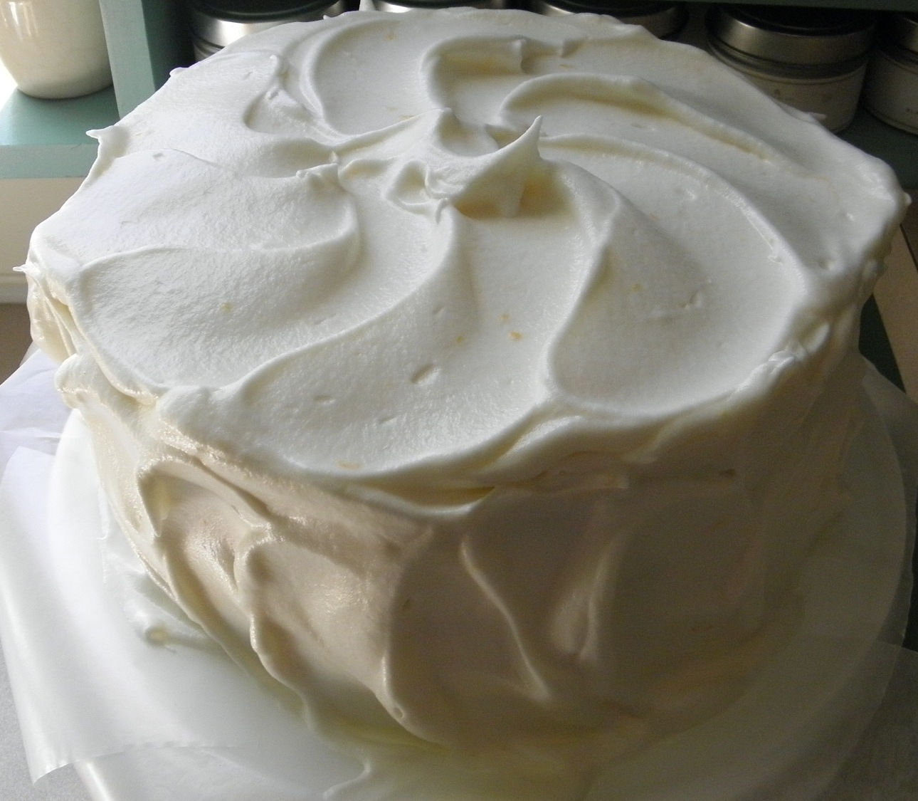 Simple Vanilla Cake With Egg: Orange Seven Minute Frosting