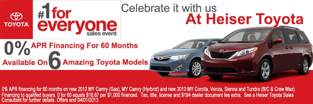 Celebrate Spring With An Incredible Deal On A New Toyota From Heiser Get Fresh Start 0 Apr Financing For 60 Months 6 Amazing Models