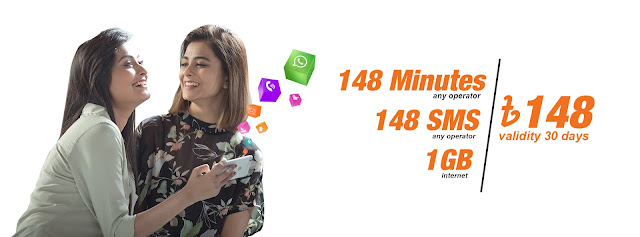 Banglalink 148 Tk Bundle 148 Minutes, 148 SMS & 1GB for 30 Days