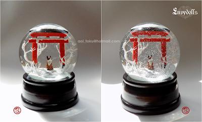 kitsune torii snowglobe