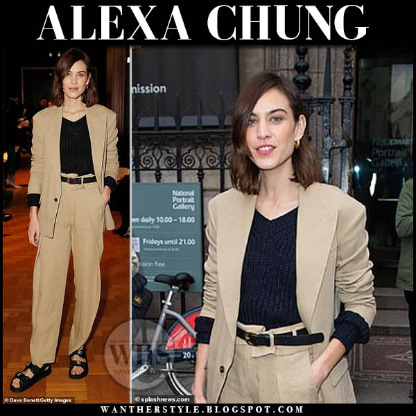 Alexa Chung in beige linen blazer, trousers and black sweater fashion week outfits spring pant suit february 2019