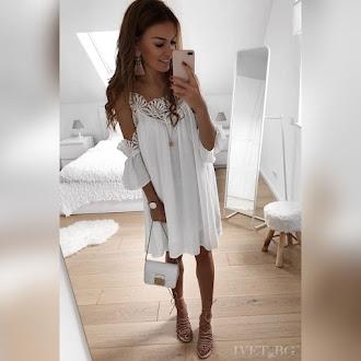 Εντυπωσιακό κοντό  άσπρο φόρεμα ELIZABETA