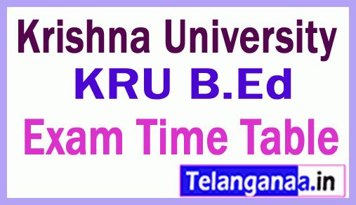Krishna University KRU B.ED Exam Time Table