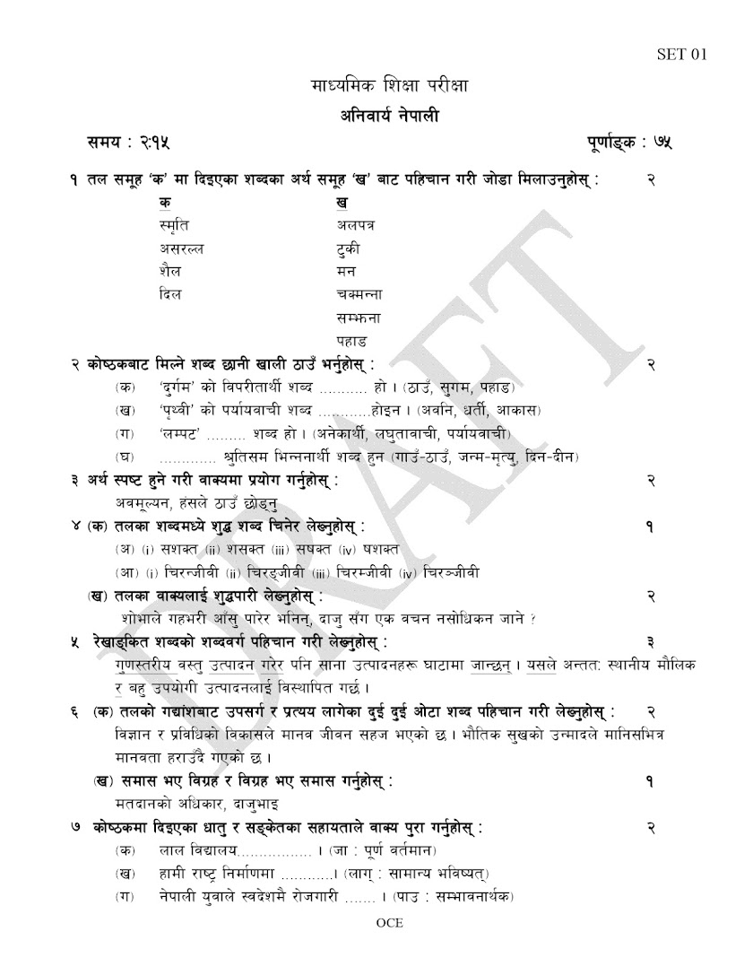 SEE Compulsory Nepali Model Question | 2075 [2019] | SET 01 | With Solution