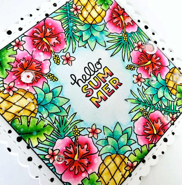 Hello Summer Card by Samantha Mann for Newton's Nook Designs, Tropical Card, Sequins, Zig Clean Color Real Brush Markers, Watercolor, summer #newtonsnook #watercolor #tropical #cards #handmadecards