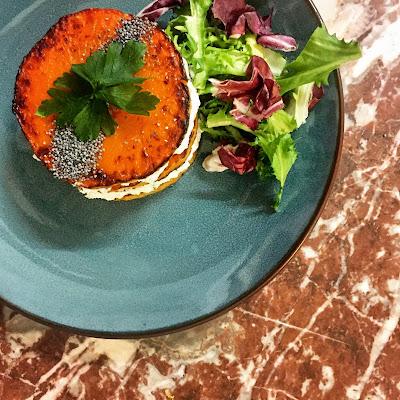 recette facile simple rapide millefeuille ricotta potiron citrouille saison frais salade végétarien vegan healthy léger légère diner astuce