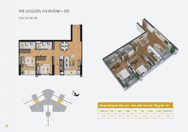 Thiết kế căn hộ A1 B5 C6, dt 73m The Golden An Khánh