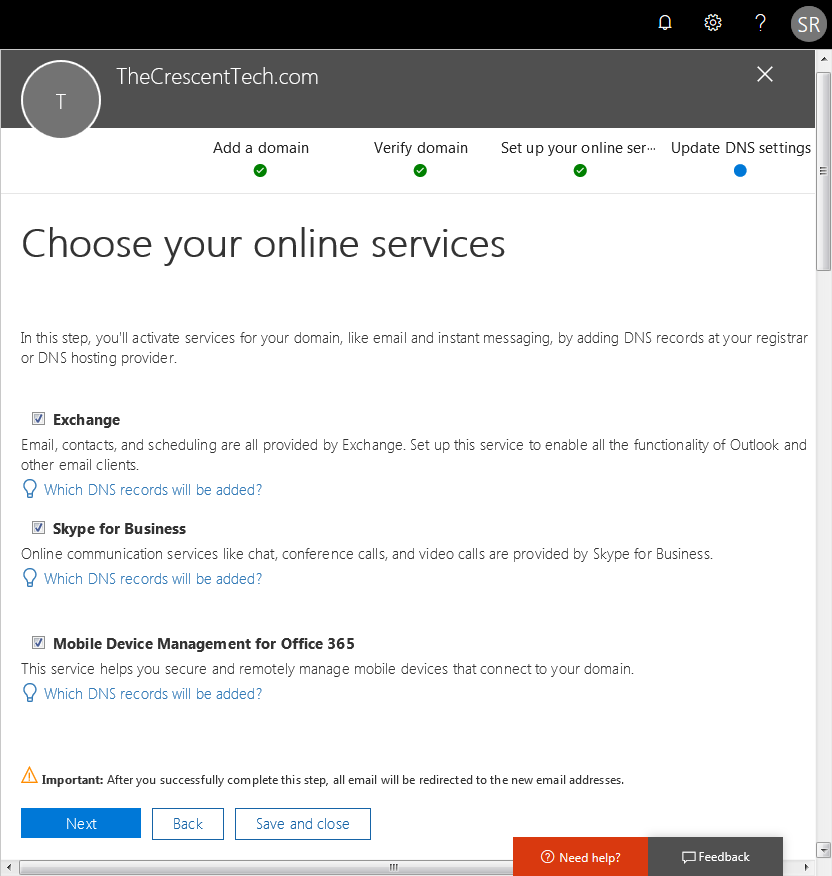 office 365 add domain dns records
