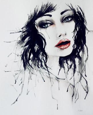 Obra de arte acuarela de mujer