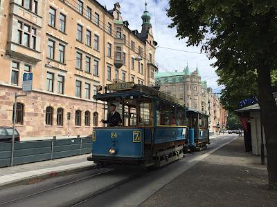 A trolley on Strandvägen in Stockholm.