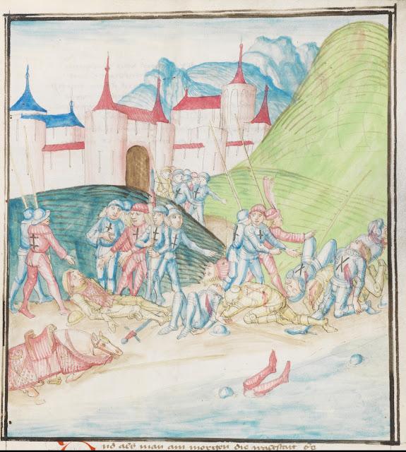 """Le corps de Charles de Bourgogne est retrouvé dans l'étang Saint-Jean  Miniature du manuscrit """"La Chronique de Lucerne"""" (1478-1483) écrite par Diebold Schilling der Jüngere (1460-1515) (Bibliothèque Centrale de Lucerne)"""