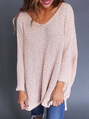 Round Neck Plain Long Sleeve Knitting Sweater
