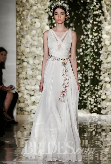 Greek Inspired A Line Wedding Dress By Reem Acra Fall 2017 Bridal Collection
