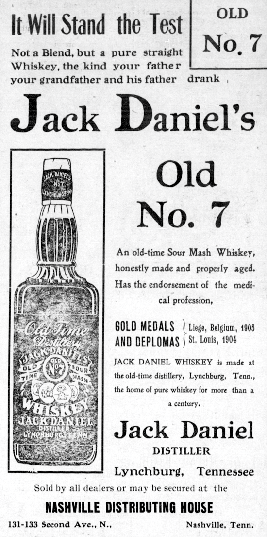 Jack Daniel's advertising 1908, The Nashville globe