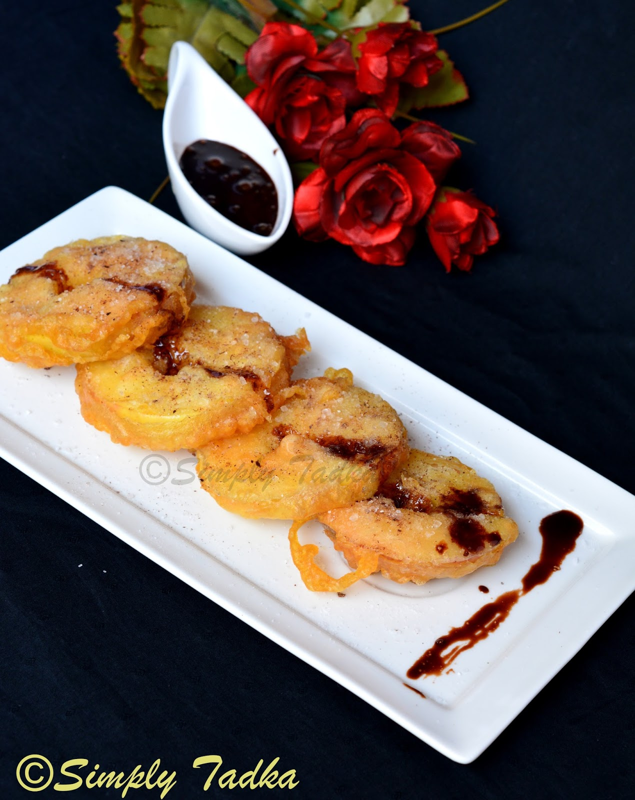 Apple Fritters With Chocolate Sauce Simply Tadka