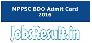 MPPSC BDO Admit Card 2016