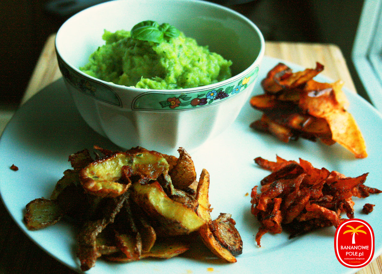 Pikantne chipsy z obierek i brokułowy dip