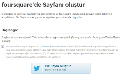 Foursquare Sayfa Açmak