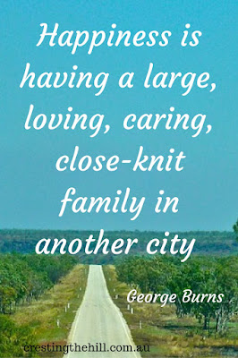 Happiness is having a large, loving, caring, close-knit family in another city