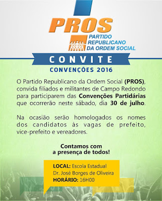 CONVITE DA CONVENÇÃO DO PROS