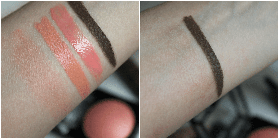 nyx baked blush nyx jumbo lip pencil nyx butter gloss nyx eyebrow gel swatches