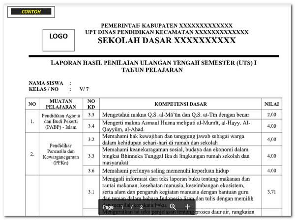 Laporan Hasil UTS/ PTS Siswa SD/ MI Kelas 1, 2, 3, 4 ,5 ,6
