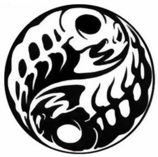 Yin Yang fishes skeleton tattoo stencil