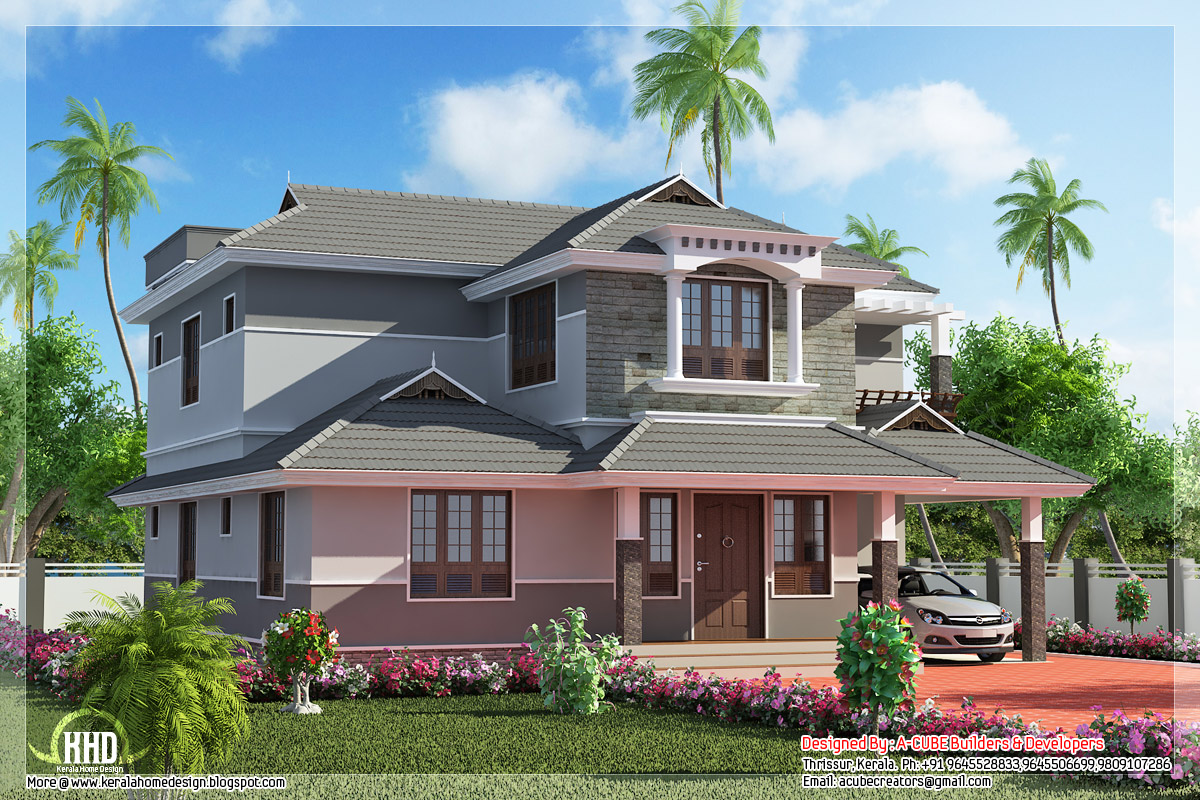 Beautiful 4 bedroom kerala villa kerala home design and for House plans in kerala with 4 bedrooms
