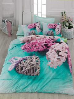 Cotton Box Floral 3D Nevresim Takımı Flora Turkuaz