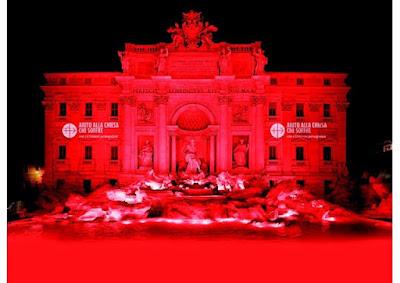 """""""Fontana di Trevi"""" será iluminada de vermelho, simbolizando o sangue dos mártires mortos por ódio à fé - RV"""