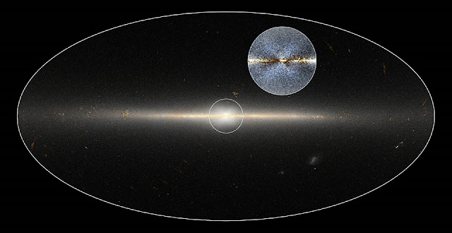 WISE all-sky image of Milky Way Galaxy. The circle is centred on the Galaxy's central region. The inset shows an enhanced version of the same region that shows a clearer view of the X-shaped structure. Credit: NASA/JPL-Caltech; D. Lang/Dunlap Institute