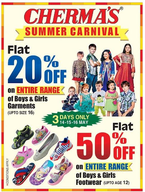 Chermas Summer Carnival. flat 20% discount offer | May 2016 discount offer | Festival offer