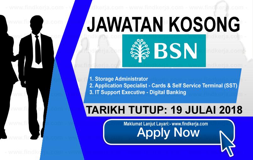 Jawatan Kerja Kosong BSN - Bank Simpanan Nasional logo www.findkerja.com www.ohjob.info julai 2018