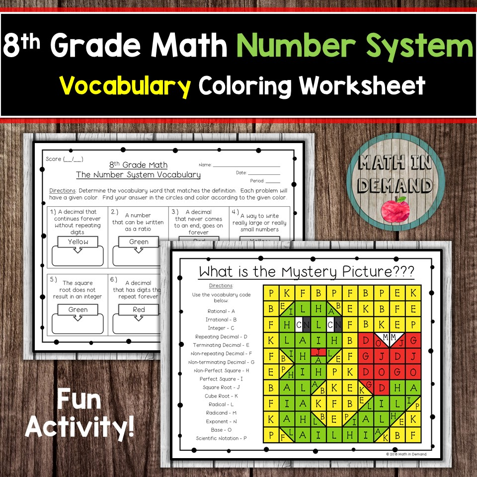 8th grade math number system vocabulary coloring worksheet number system vocabulary rational irrational integer repeating decimal terminating decimal