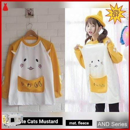 AND251 Sweater Wanita Cute Cats Mustard BMGShop