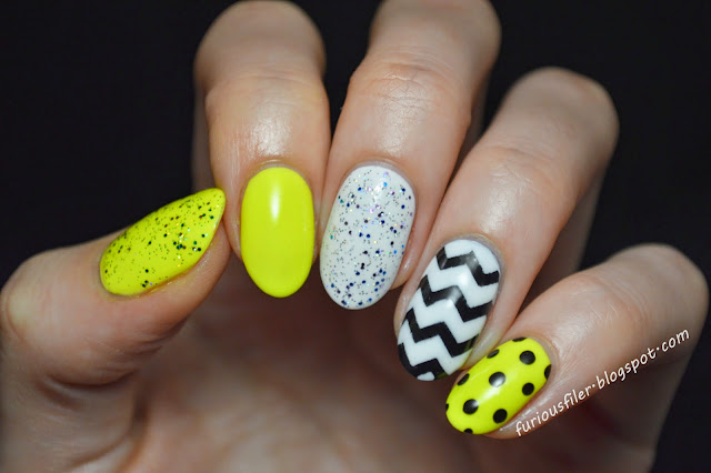 neon chevron dots glitter skittles nail art