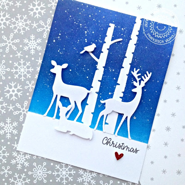 Sunny Studio Stamps: Rustic Winter Snowy Sky Watercolored Background Christmas Card by Franci Vignoli