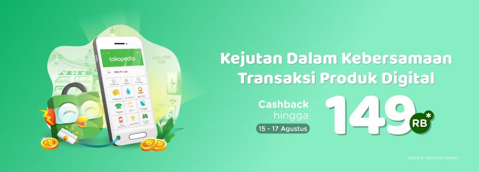 Tokopedia - Voucher Promo Cashback 9% Produk Digital (s.d 17 Agustus 2018)