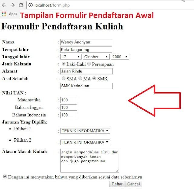 Tampilan Awal Formulir Pendaftaran