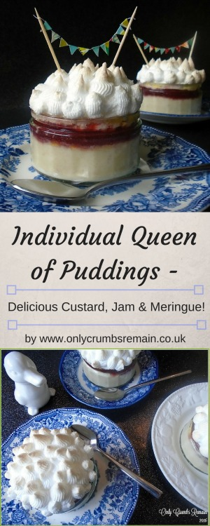 Queen of Puddings is a delicious historic dessert consisting of three distinct layers of custard, jam and meringue