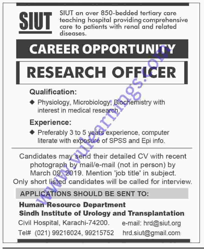 Job in Sindh Institute of Urology and Transplantation